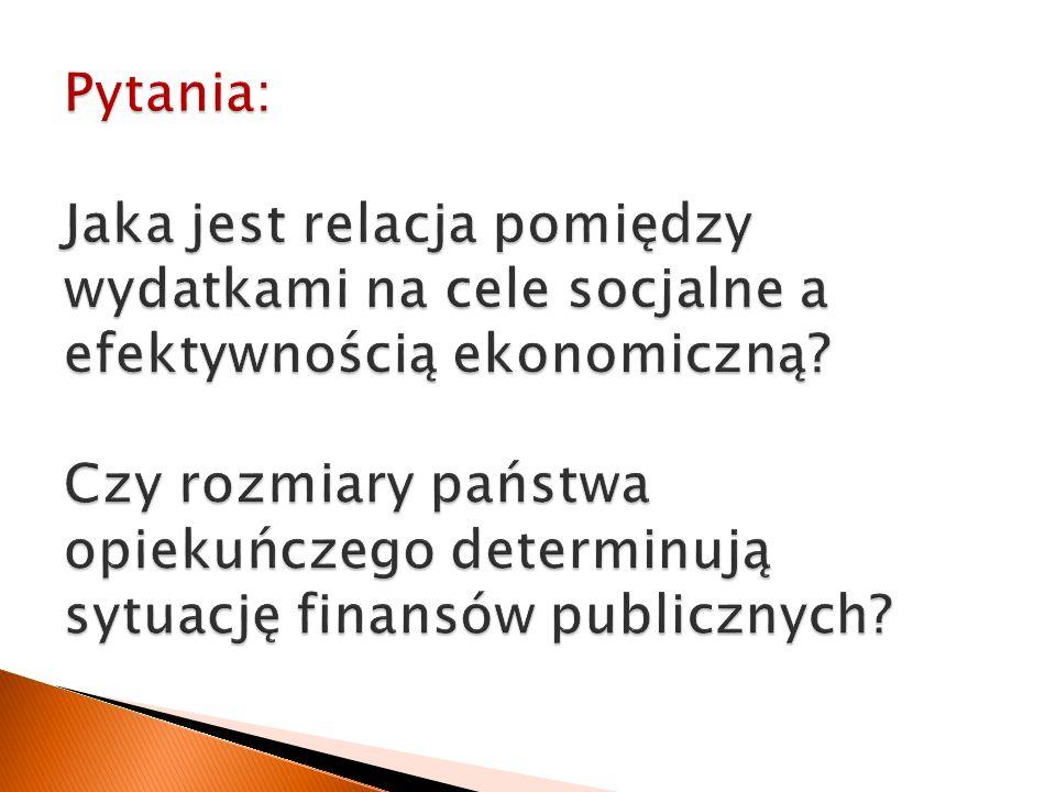 Pytania: Jaka jest relacja pomiędzy wydatkami na cele socjalne a efektywnością ekonomiczną.