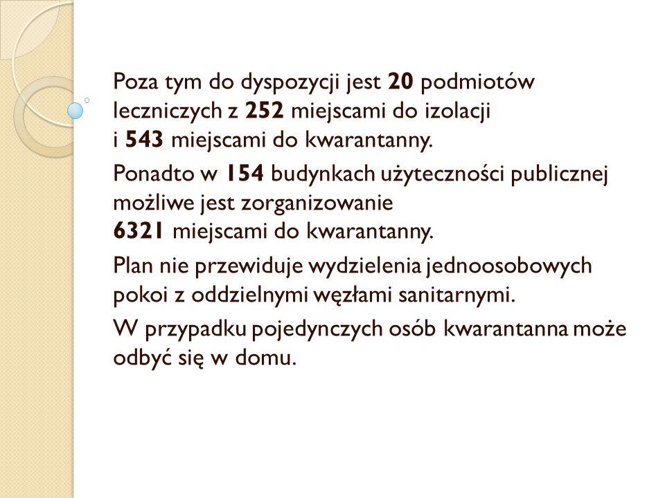 Poza tym do dyspozycji jest 20 podmiotów leczniczych z 252 miejscami do izolacji i 543 miejscami do kwarantanny.