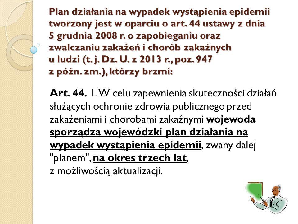 Plan działania na wypadek wystąpienia epidemii tworzony jest w oparciu o art. 44 ustawy z dnia 5 grudnia 2008 r. o zapobieganiu oraz zwalczaniu zakażeń i chorób zakaźnych u ludzi (t. j. Dz. U. z 2013 r., poz. 947 z późn. zm.), którzy brzmi: