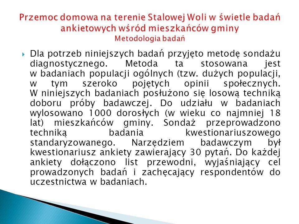 Przemoc domowa na terenie Stalowej Woli w świetle badań ankietowych wśród mieszkańców gminy Metodologia badań