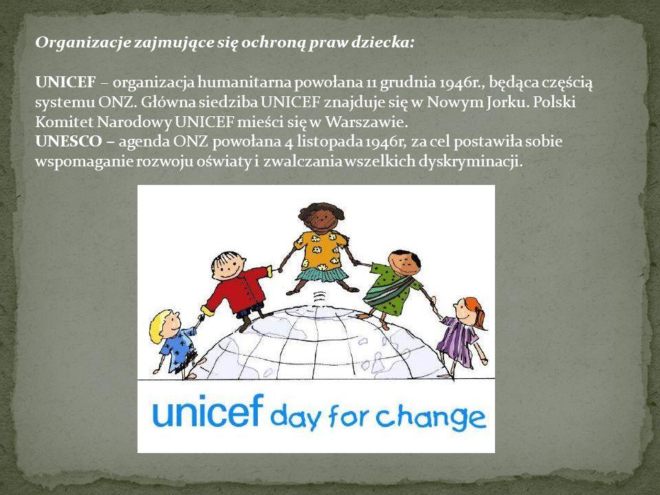 Organizacje zajmujące się ochroną praw dziecka: