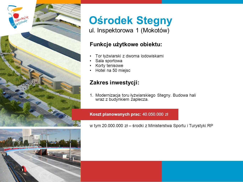 Ośrodek Stegny ul. Inspektorowa 1 (Mokotów) Funkcje użytkowe obiektu: