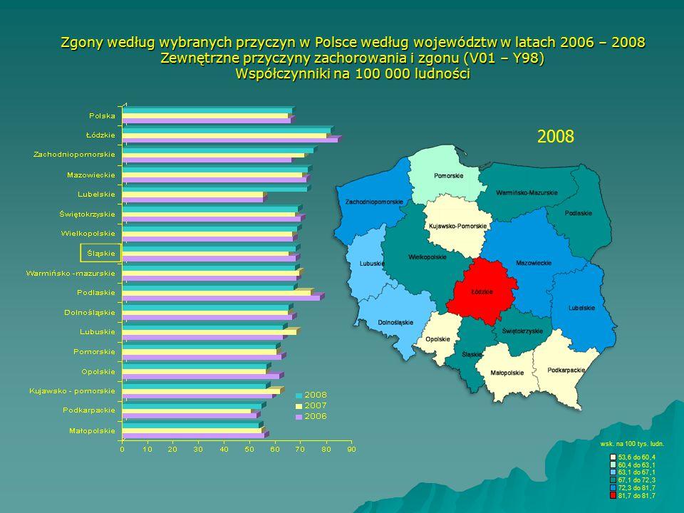 Zgony według wybranych przyczyn w Polsce według województw w latach 2006 – 2008