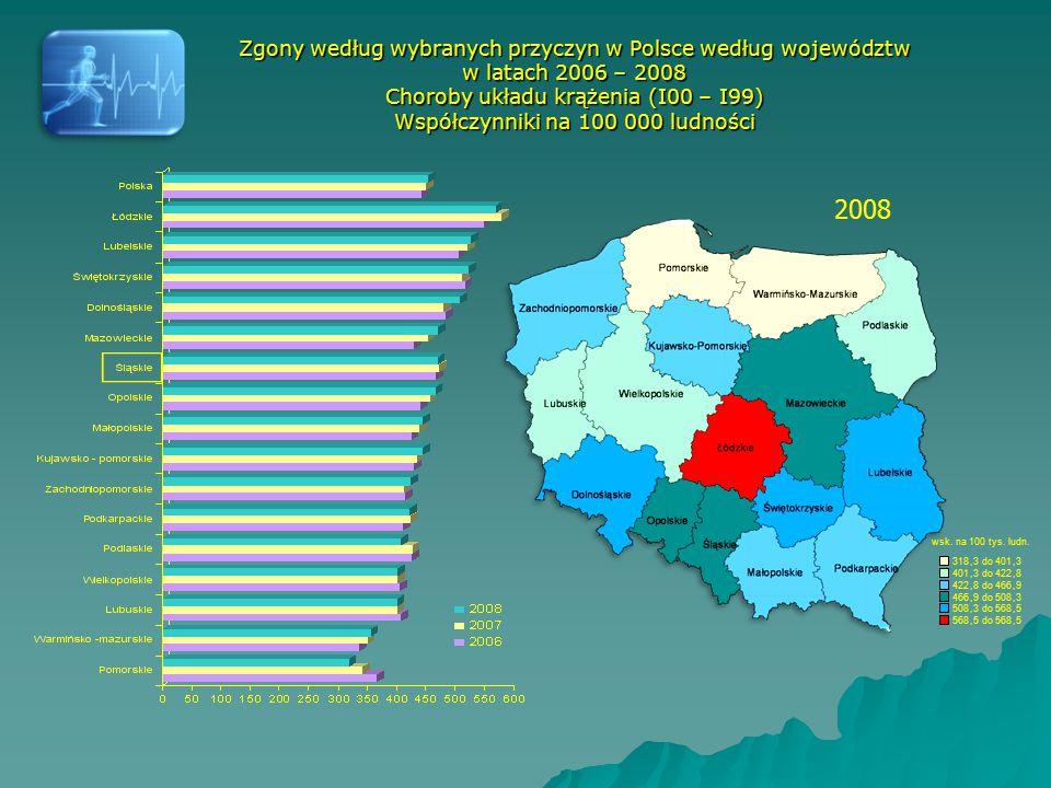2008 Zgony według wybranych przyczyn w Polsce według województw