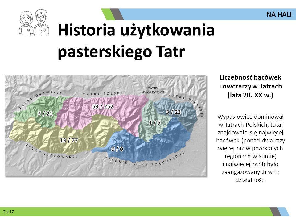 Liczebność bacówek i owczarzy w Tatrach (lata 20. XX w.)