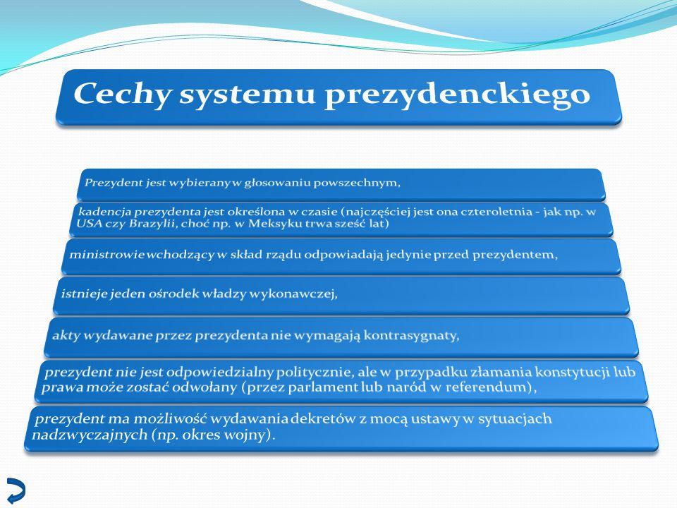 Cechy systemu prezydenckiego