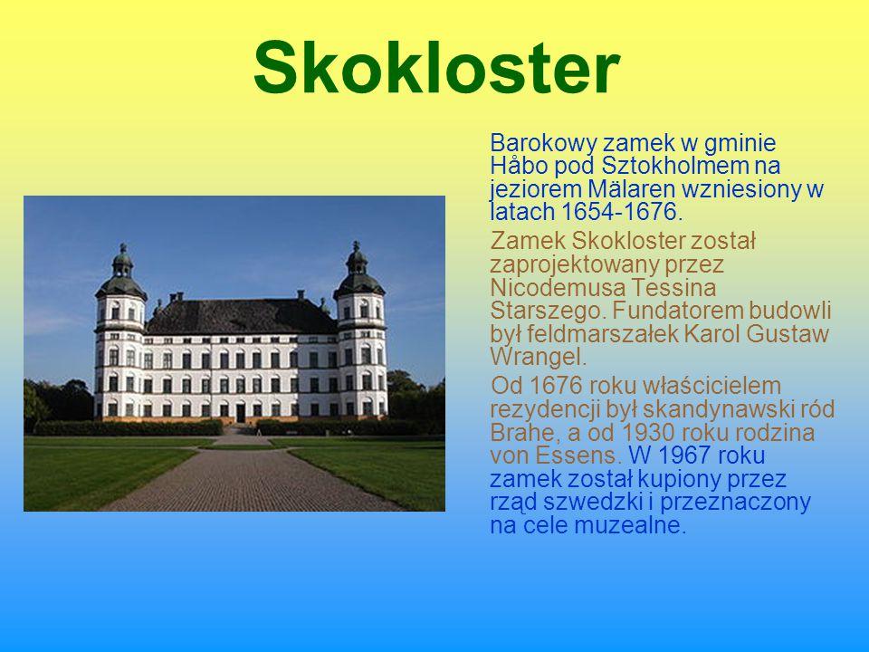 Skokloster Barokowy zamek w gminie Håbo pod Sztokholmem na jeziorem Mälaren wzniesiony w latach 1654-1676.