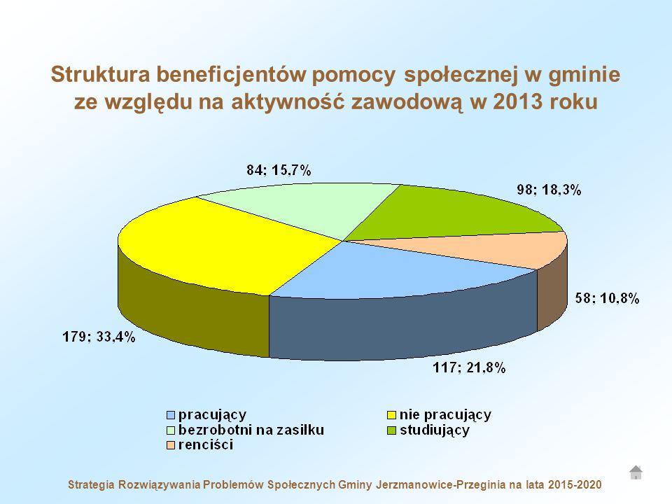 Struktura beneficjentów pomocy społecznej w gminie ze względu na aktywność zawodową w 2013 roku