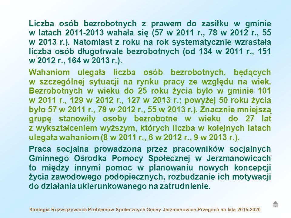 Liczba osób bezrobotnych z prawem do zasiłku w gminie w latach 2011-2013 wahała się (57 w 2011 r., 78 w 2012 r., 55 w 2013 r.). Natomiast z roku na rok systematycznie wzrastała liczba osób długotrwale bezrobotnych (od 134 w 2011 r., 151 w 2012 r., 164 w 2013 r.).