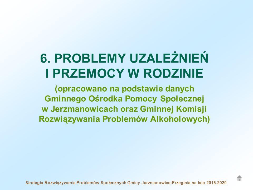 6. PROBLEMY UZALEŻNIEŃ I PRZEMOCY W RODZINIE (opracowano na podstawie danych Gminnego Ośrodka Pomocy Społecznej w Jerzmanowicach oraz Gminnej Komisji Rozwiązywania Problemów Alkoholowych)