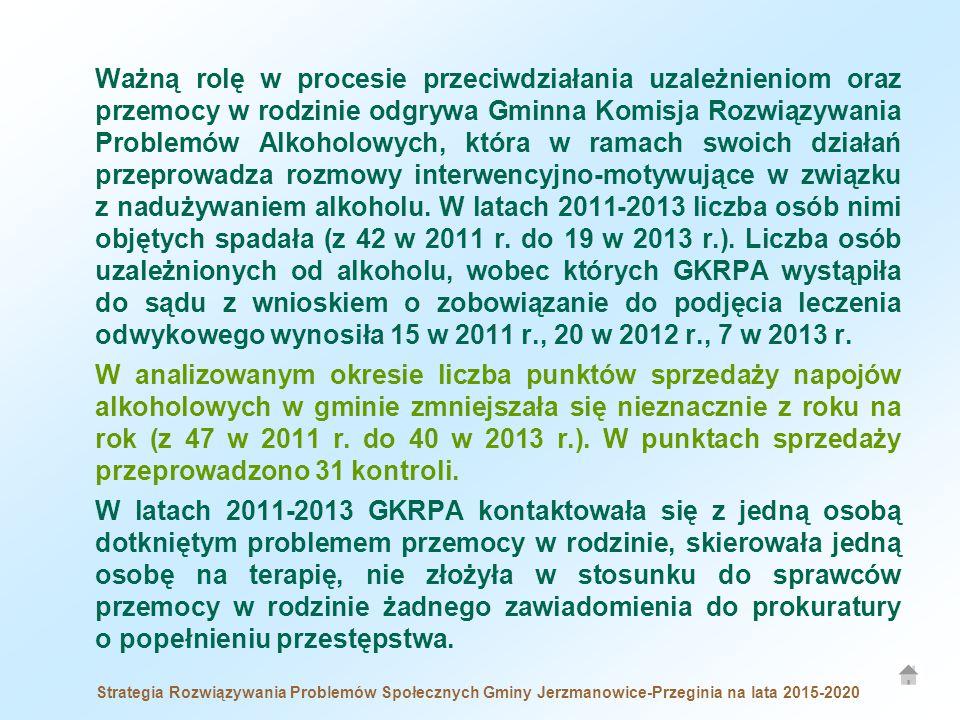 Ważną rolę w procesie przeciwdziałania uzależnieniom oraz przemocy w rodzinie odgrywa Gminna Komisja Rozwiązywania Problemów Alkoholowych, która w ramach swoich działań przeprowadza rozmowy interwencyjno-motywujące w związku z nadużywaniem alkoholu. W latach 2011-2013 liczba osób nimi objętych spadała (z 42 w 2011 r. do 19 w 2013 r.). Liczba osób uzależnionych od alkoholu, wobec których GKRPA wystąpiła do sądu z wnioskiem o zobowiązanie do podjęcia leczenia odwykowego wynosiła 15 w 2011 r., 20 w 2012 r., 7 w 2013 r.