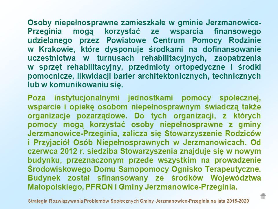 Osoby niepełnosprawne zamieszkałe w gminie Jerzmanowice- Przeginia mogą korzystać ze wsparcia finansowego udzielanego przez Powiatowe Centrum Pomocy Rodzinie w Krakowie, które dysponuje środkami na dofinansowanie uczestnictwa w turnusach rehabilitacyjnych, zaopatrzenia w sprzęt rehabilitacyjny, przedmioty ortopedyczne i środki pomocnicze, likwidacji barier architektonicznych, technicznych lub w komunikowaniu się.