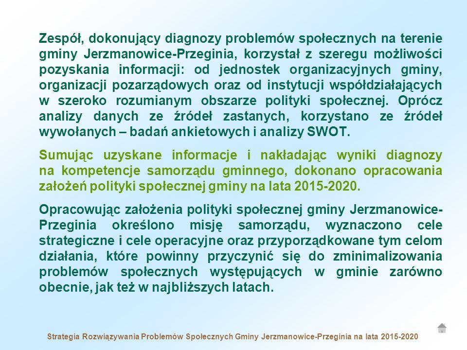 Zespół, dokonujący diagnozy problemów społecznych na terenie gminy Jerzmanowice-Przeginia, korzystał z szeregu możliwości pozyskania informacji: od jednostek organizacyjnych gminy, organizacji pozarządowych oraz od instytucji współdziałających w szeroko rozumianym obszarze polityki społecznej. Oprócz analizy danych ze źródeł zastanych, korzystano ze źródeł wywołanych – badań ankietowych i analizy SWOT.