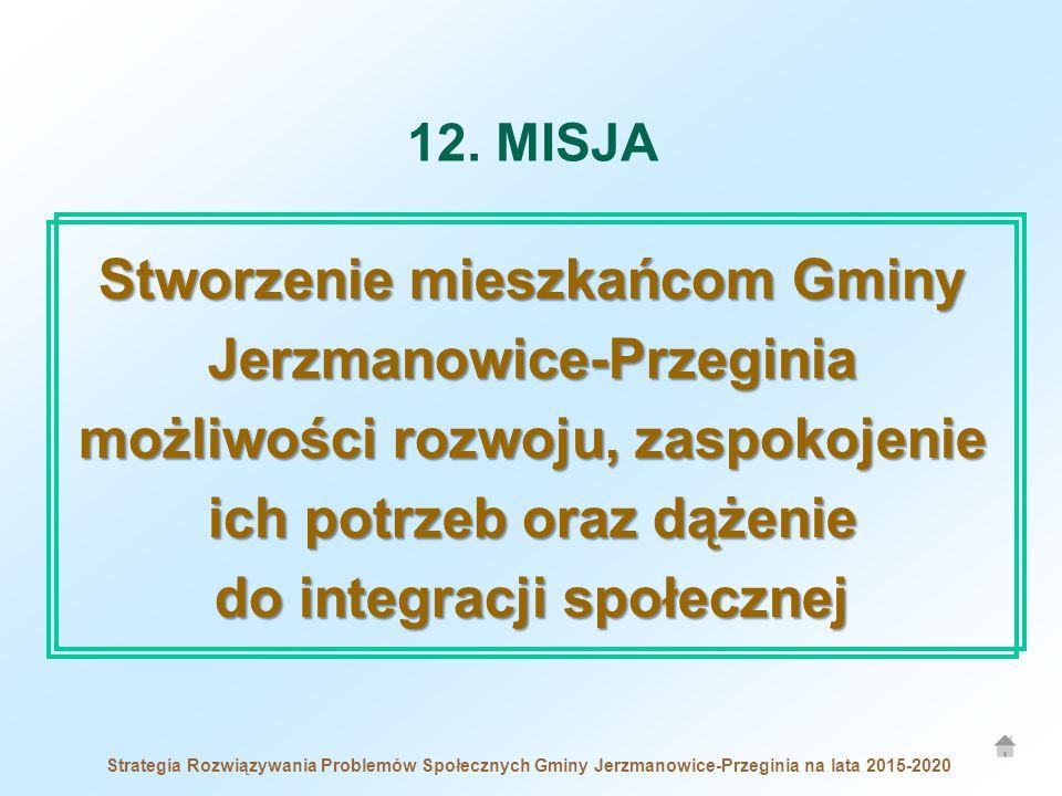 12. MISJA Stworzenie mieszkańcom Gminy Jerzmanowice-Przeginia możliwości rozwoju, zaspokojenie ich potrzeb oraz dążenie do integracji społecznej.