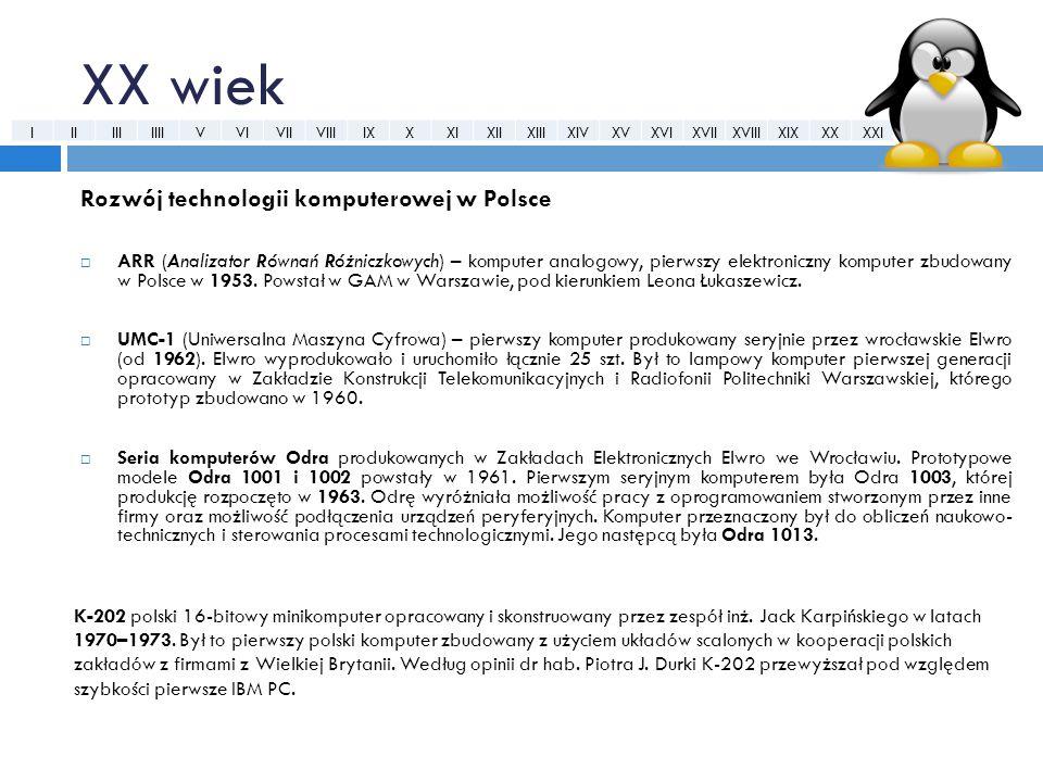 XX wiek Rozwój technologii komputerowej w Polsce