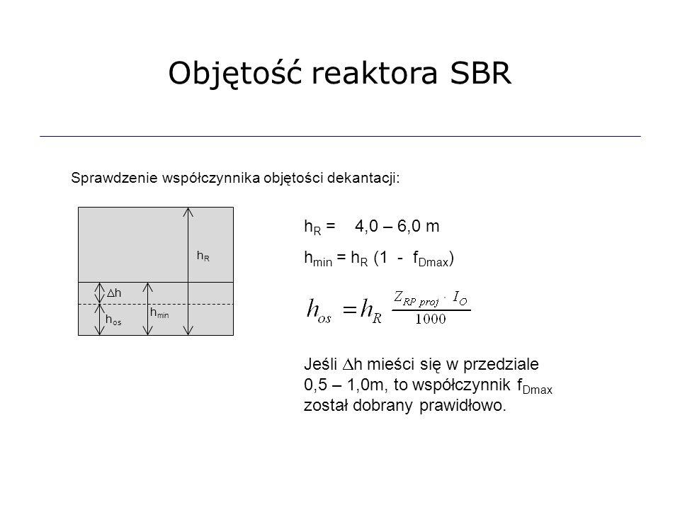 Objętość reaktora SBR hR = 4,0 – 6,0 m hmin = hR (1 - fDmax)