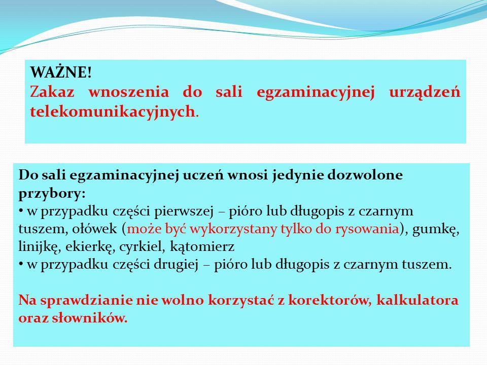 Zakaz wnoszenia do sali egzaminacyjnej urządzeń telekomunikacyjnych.