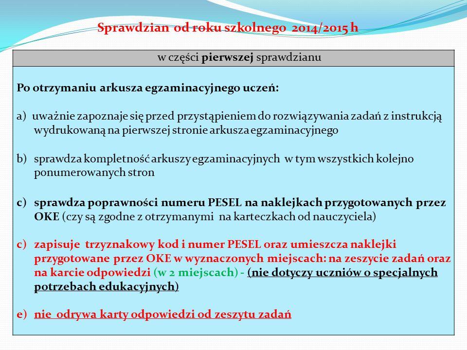 Sprawdzian od roku szkolnego 2014/2015 h