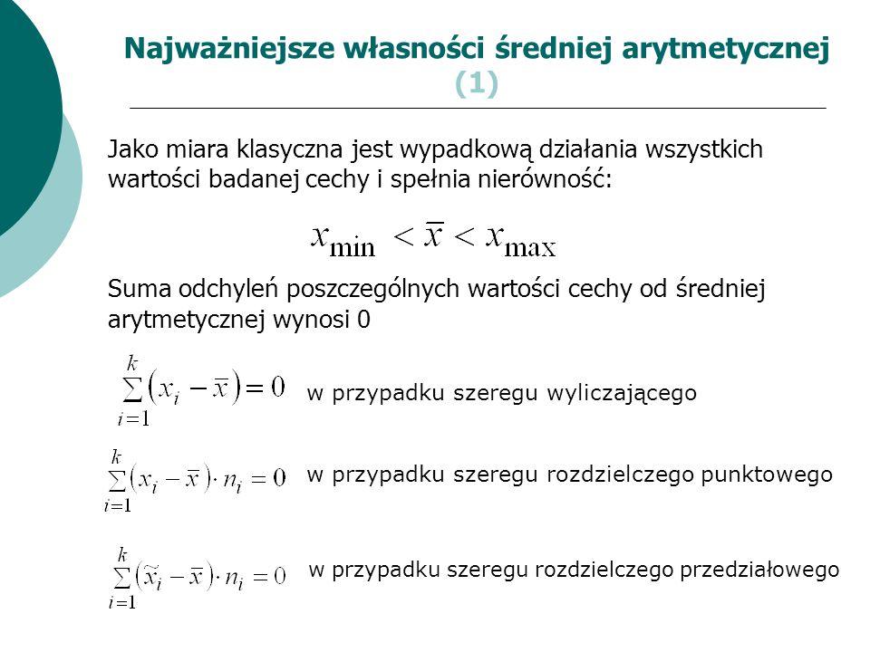 Najważniejsze własności średniej arytmetycznej (1)