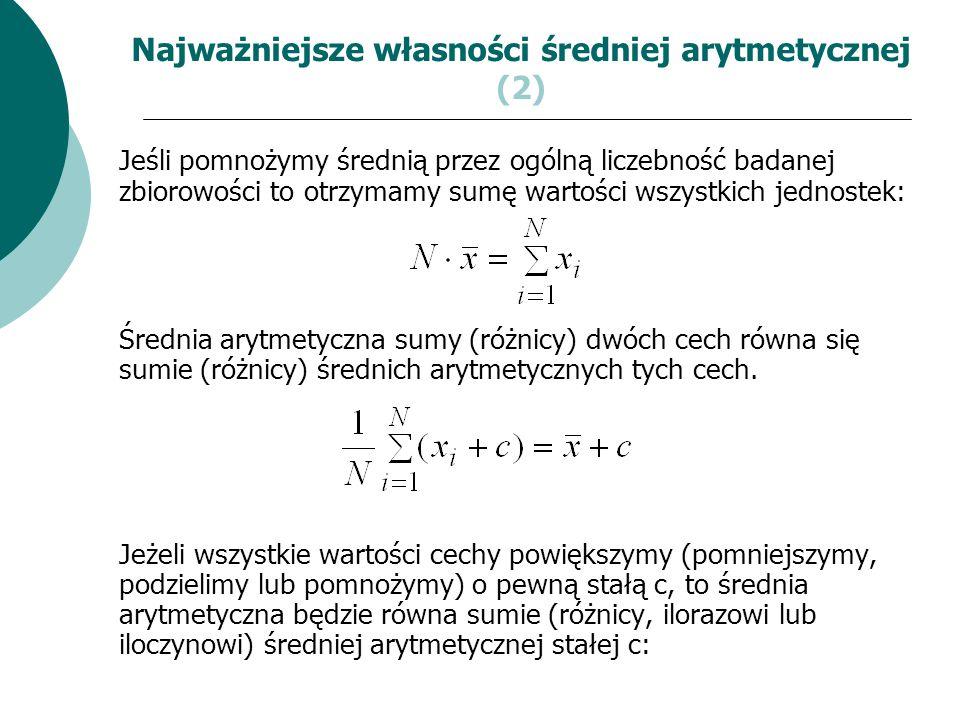 Najważniejsze własności średniej arytmetycznej (2)