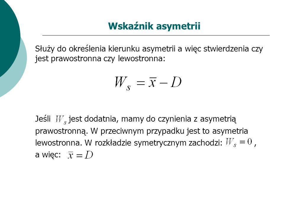 Wskaźnik asymetrii Służy do określenia kierunku asymetrii a więc stwierdzenia czy jest prawostronna czy lewostronna:
