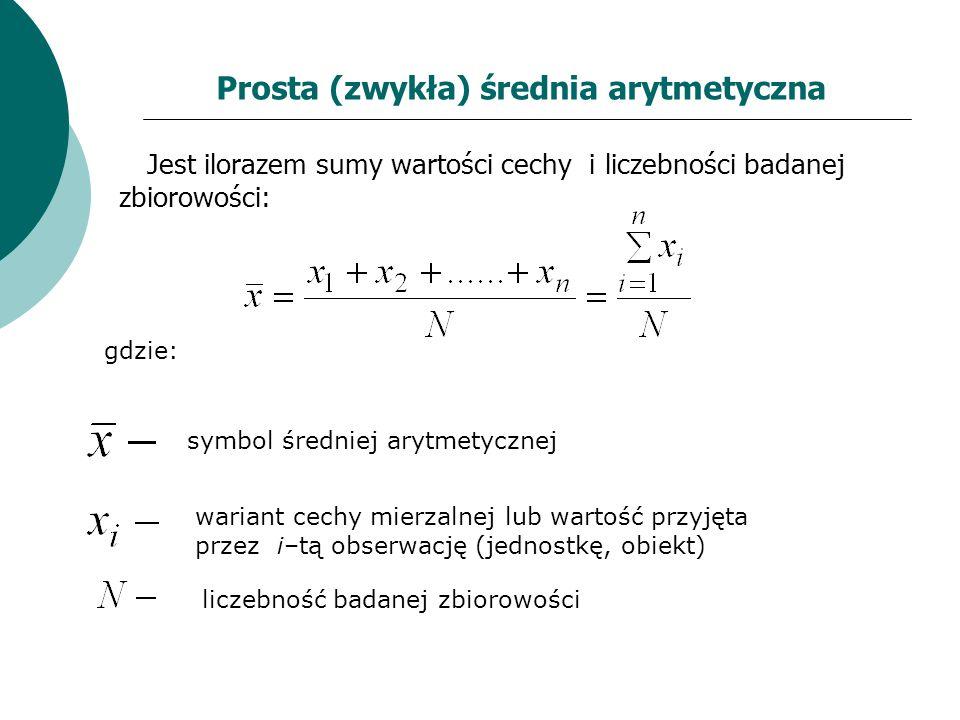 Prosta (zwykła) średnia arytmetyczna