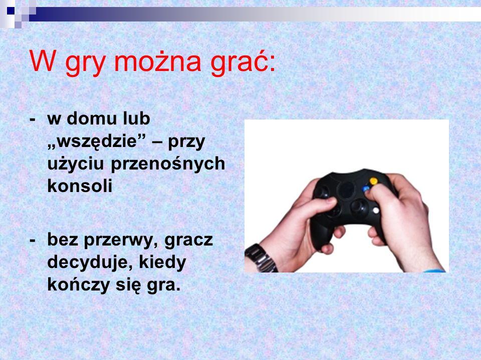 """W gry można grać: - w domu lub """"wszędzie – przy użyciu przenośnych konsoli."""