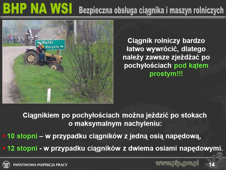 Ciągnik rolniczy bardzo łatwo wywrócić, dlatego należy zawsze zjeżdżać po pochyłościach pod kątem prostym!!!