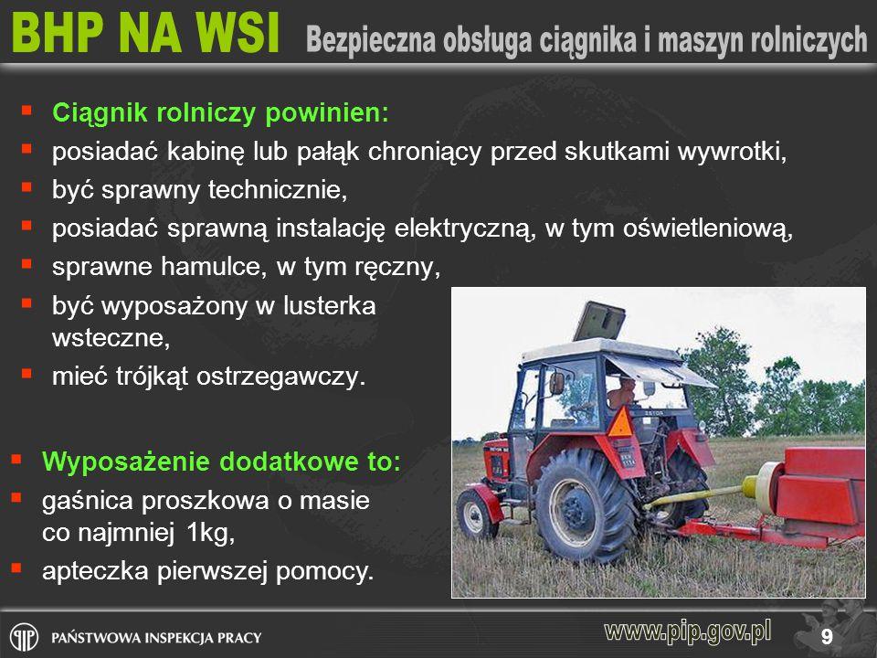 Ciągnik rolniczy powinien: