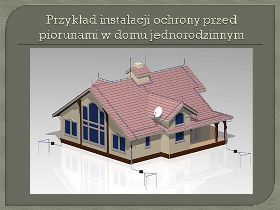 Przykład instalacji ochrony przed piorunami w domu jednorodzinnym