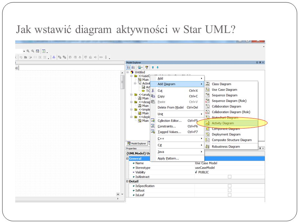 Jak wstawić diagram aktywności w Star UML