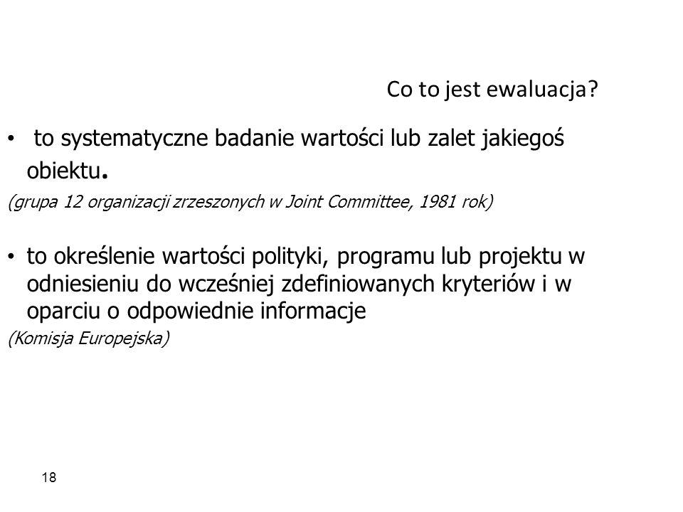 Co to jest ewaluacja to systematyczne badanie wartości lub zalet jakiegoś obiektu. (grupa 12 organizacji zrzeszonych w Joint Committee, 1981 rok)