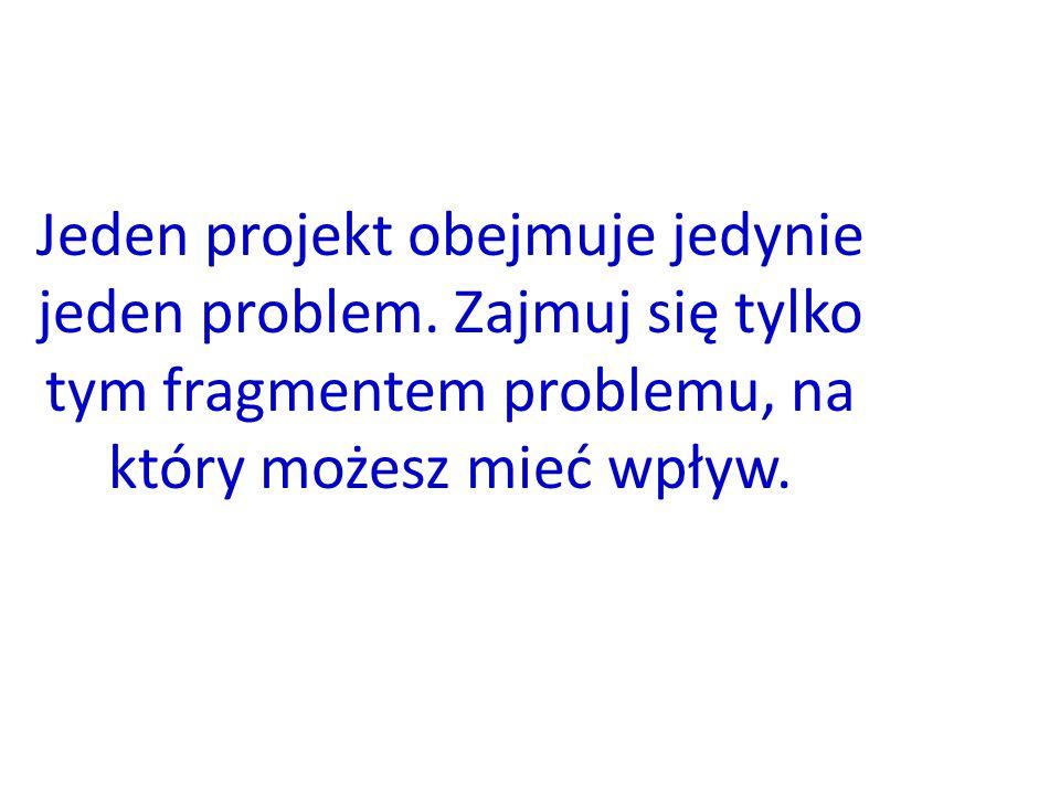 Jeden projekt obejmuje jedynie jeden problem