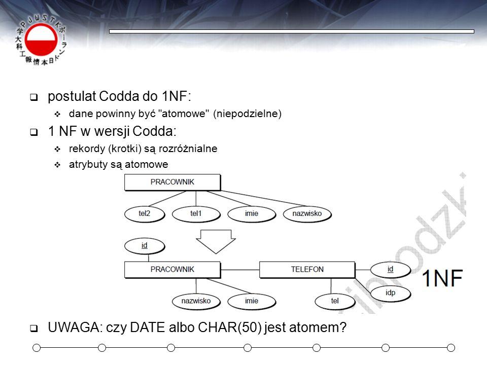 UWAGA: czy DATE albo CHAR(50) jest atomem