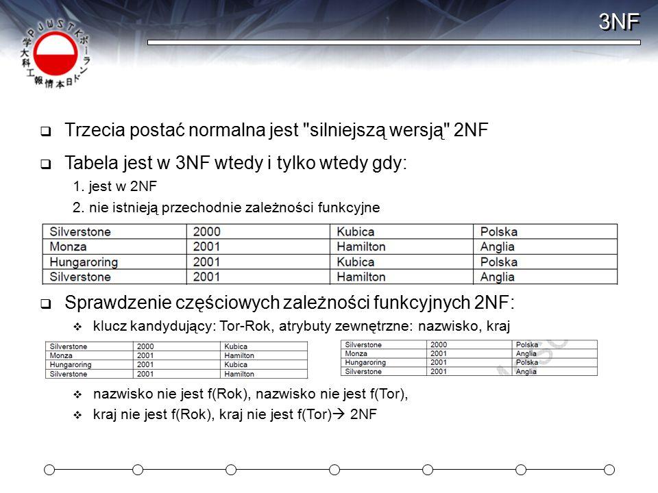 3NF Trzecia postać normalna jest silniejszą wersją 2NF