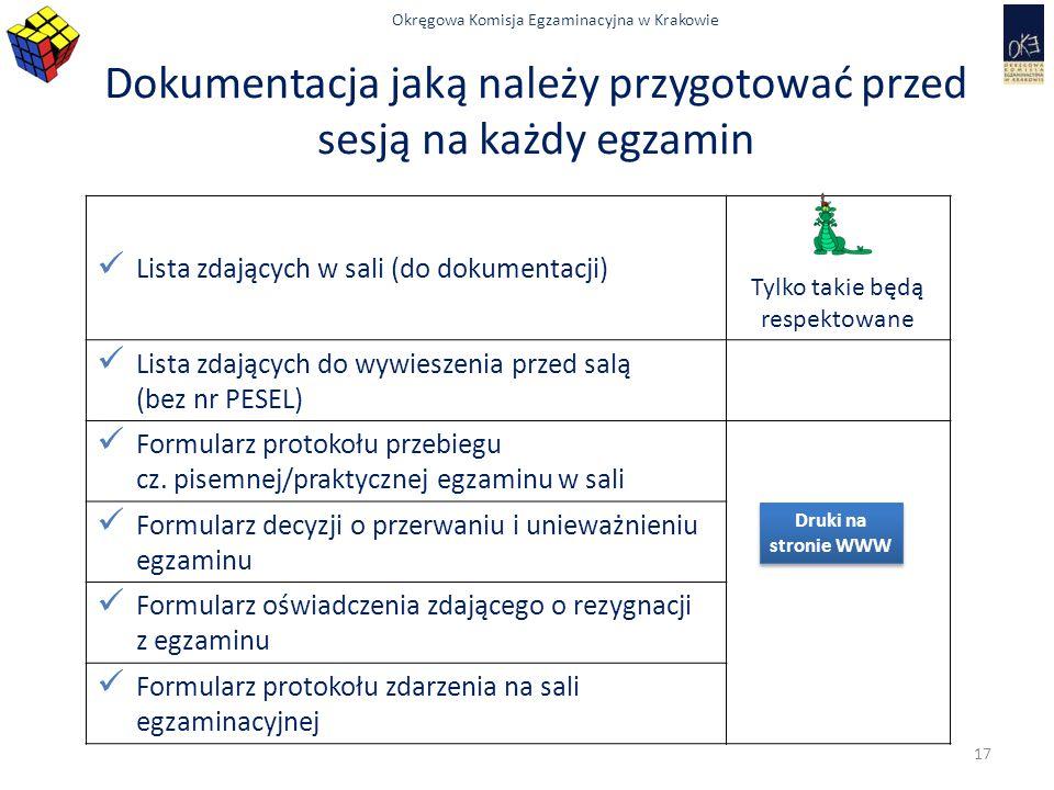 Dokumentacja jaką należy przygotować przed sesją na każdy egzamin