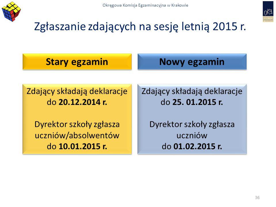 Zgłaszanie zdających na sesję letnią 2015 r.