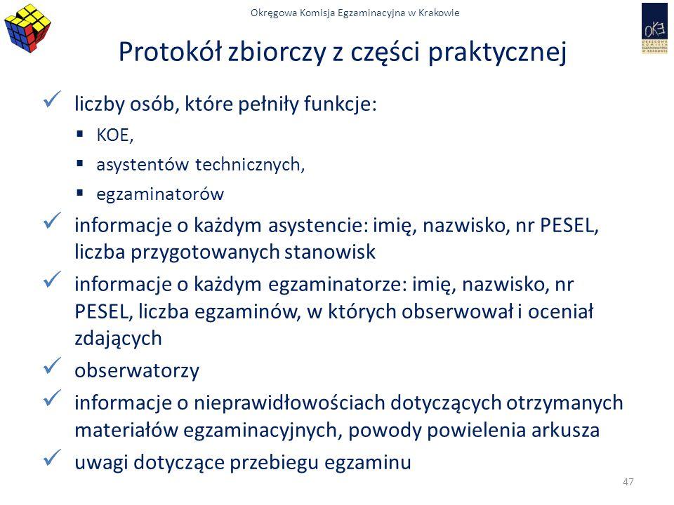 Protokół zbiorczy z części praktycznej