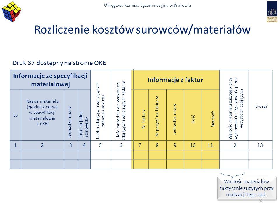 Rozliczenie kosztów surowców/materiałów