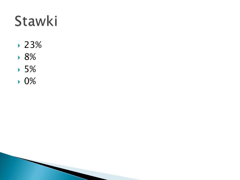 Stawki 23% 8% 5% 0%