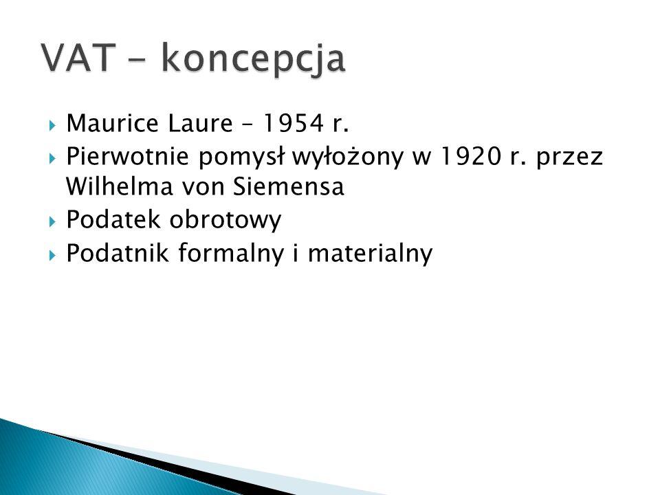 VAT - koncepcja Maurice Laure – 1954 r.