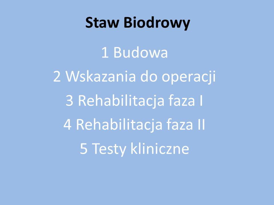 Staw Biodrowy 1 Budowa. 2 Wskazania do operacji. 3 Rehabilitacja faza I. 4 Rehabilitacja faza II.