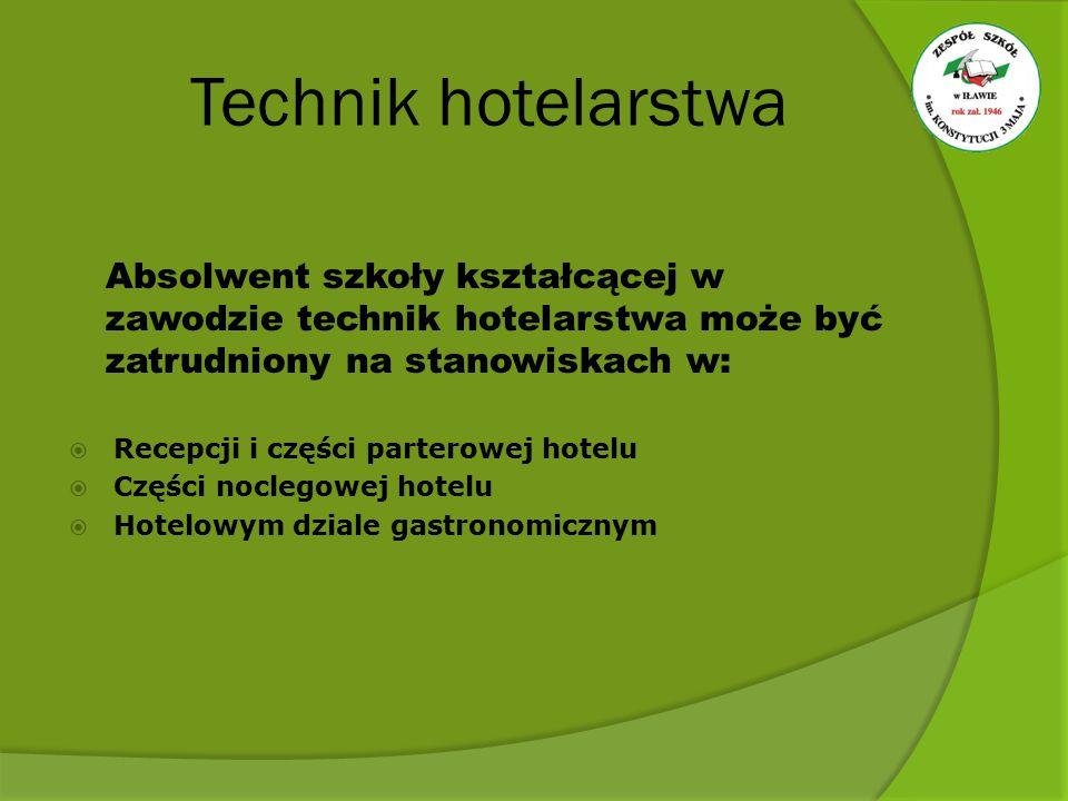 Technik hotelarstwa Absolwent szkoły kształcącej w zawodzie technik hotelarstwa może być zatrudniony na stanowiskach w: