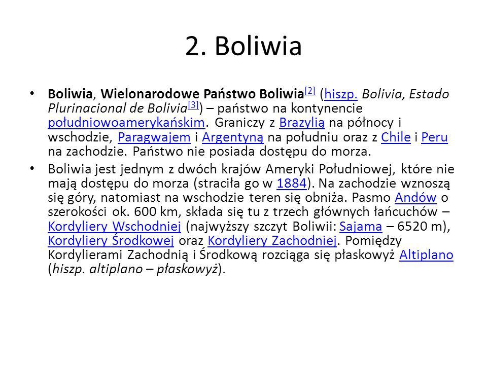 2. Boliwia