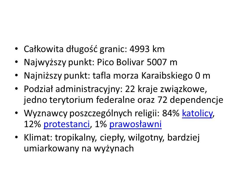 Całkowita długość granic: 4993 km