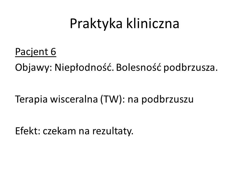 Praktyka kliniczna Pacjent 6 Objawy: Niepłodność. Bolesność podbrzusza.