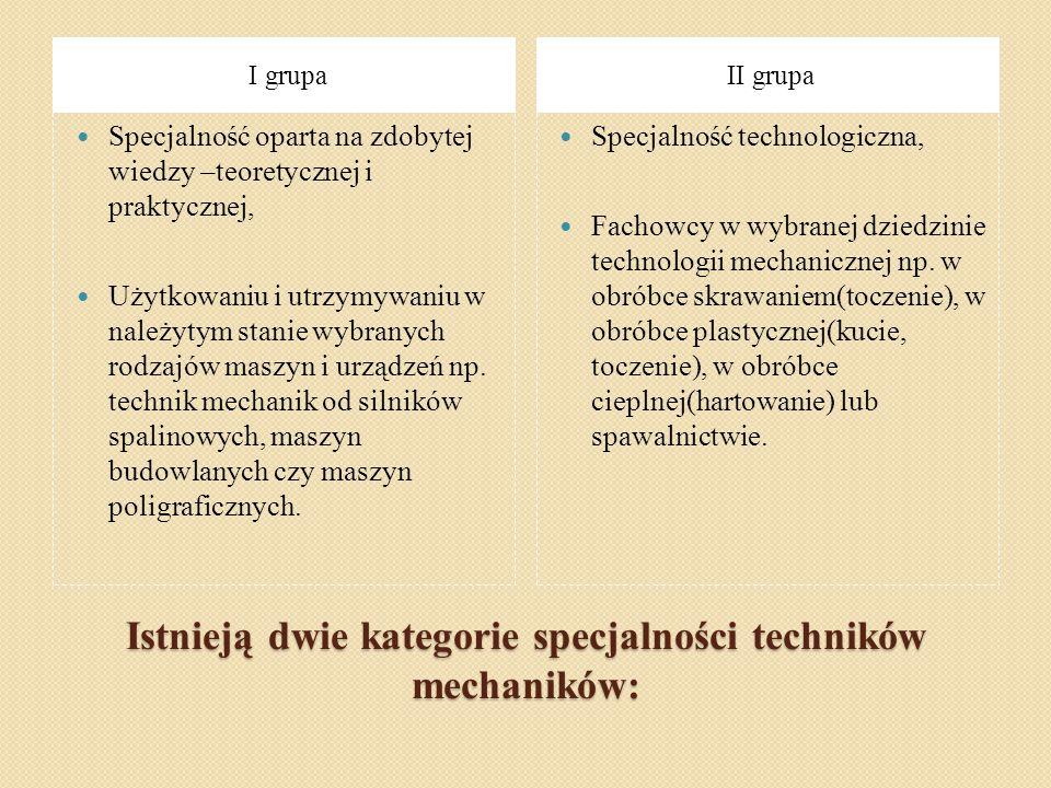 Istnieją dwie kategorie specjalności techników mechaników: