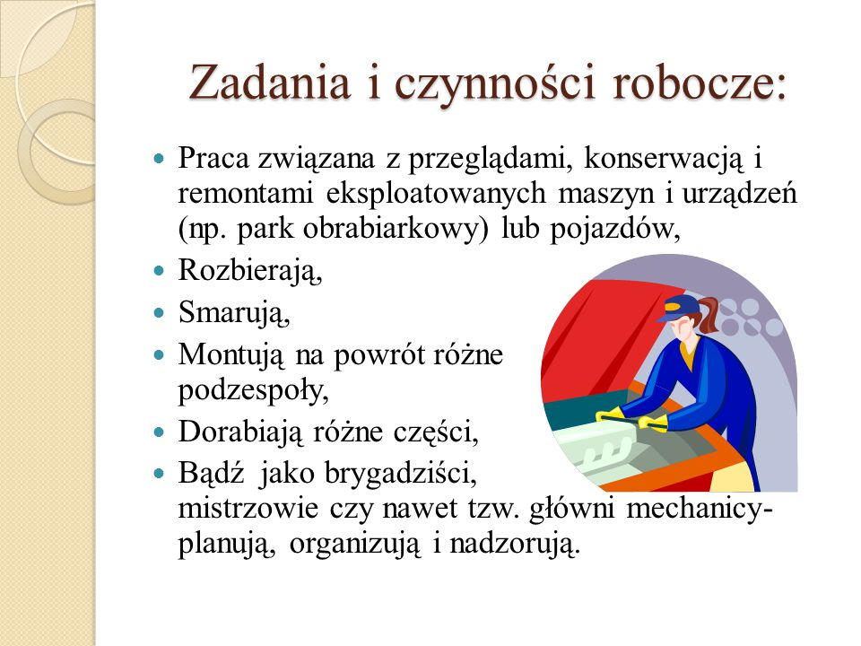 Zadania i czynności robocze: