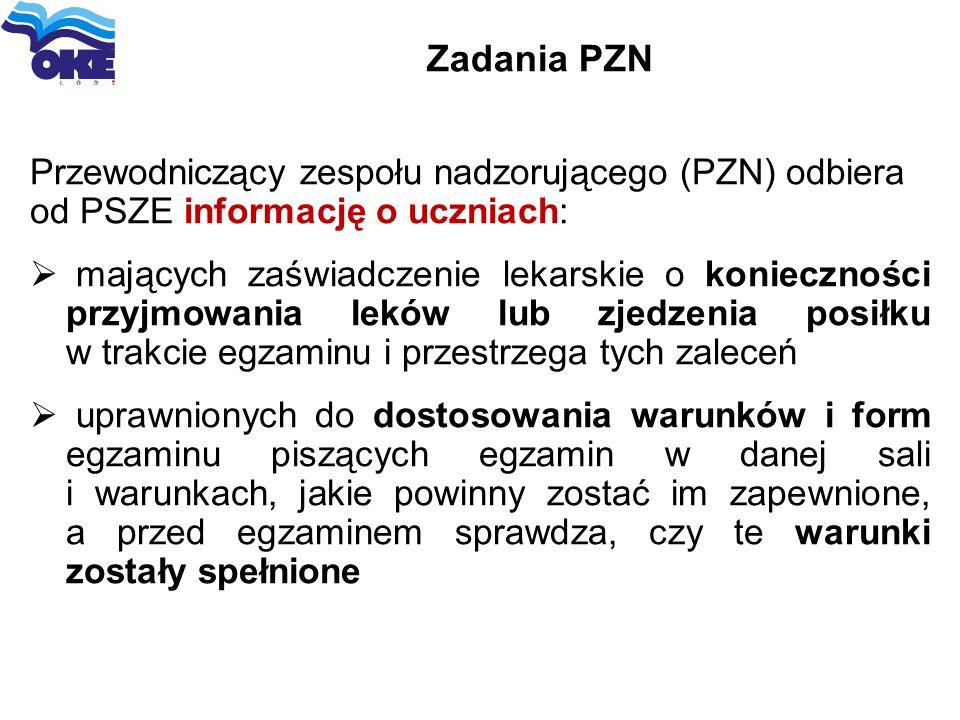 Zadania PZN Przewodniczący zespołu nadzorującego (PZN) odbiera od PSZE informację o uczniach: