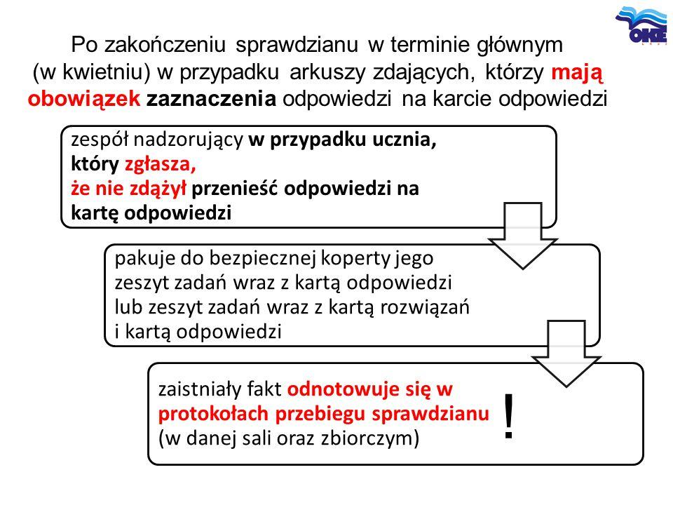 Po zakończeniu sprawdzianu w terminie głównym (w kwietniu) w przypadku arkuszy zdających, którzy mają obowiązek zaznaczenia odpowiedzi na karcie odpowiedzi